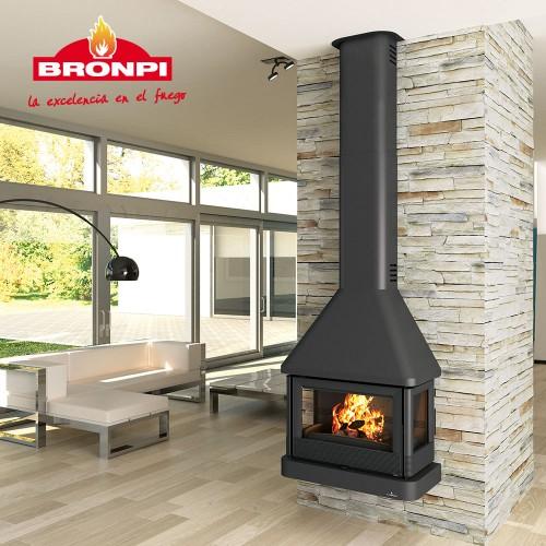 BRONPI LISBOA-C 3 zijde glas wandhaard houtkachel,compleet met ventilatorsysteem